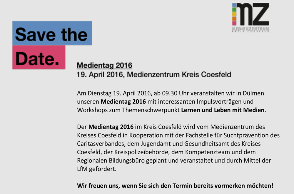 Save the Date - Medientag 19|04|2016